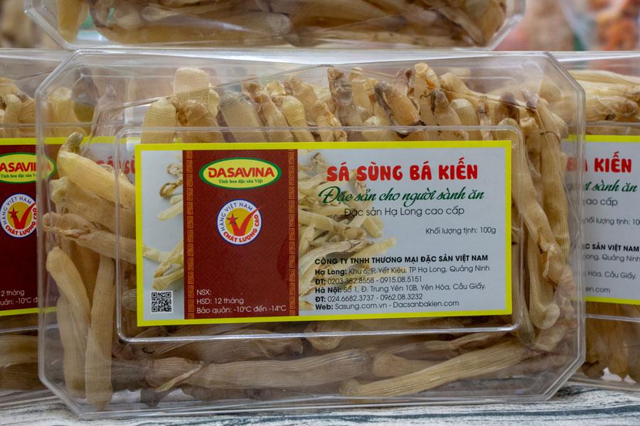 Sá sùng tại Siêu Thị Đặc Sản được đóng hộp đảm bảo vệ sinh an toàn thực phẩm và chất lượng sản phẩm